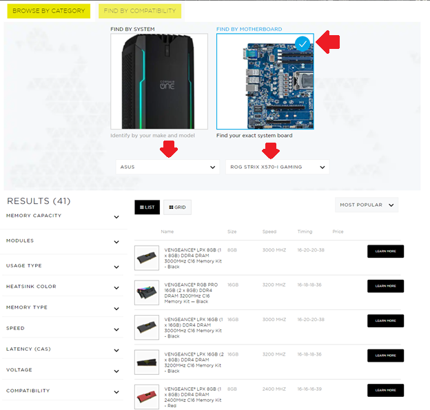 The memory finder lets you filter compatibility by system or motherboard model.